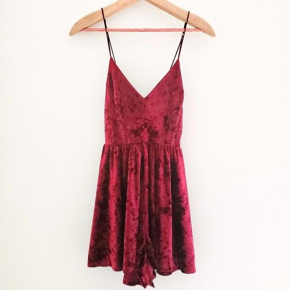 silence + noise Other - Silence + Noise Red Crushed Velvet Romper Dress
